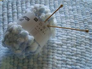 crochet avec laine pompon