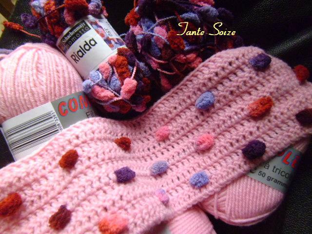 echarpe crochet laine pompon