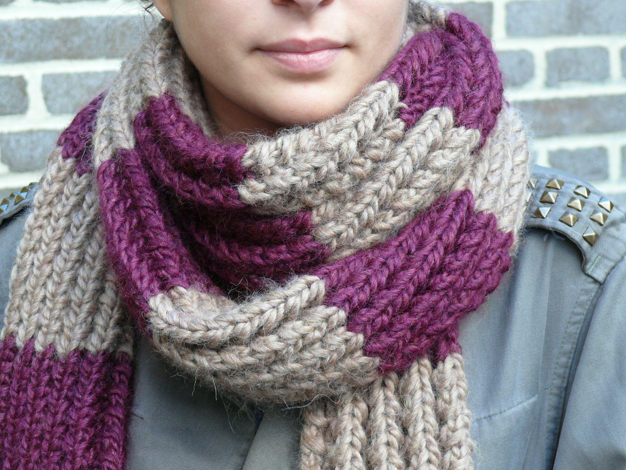 3e7511f09a28 Tricoter une écharpe laine   Espaceflirey