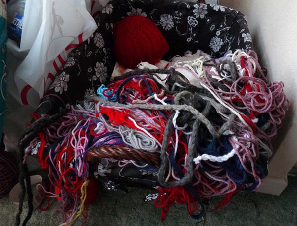 pelote de laine emmelee
