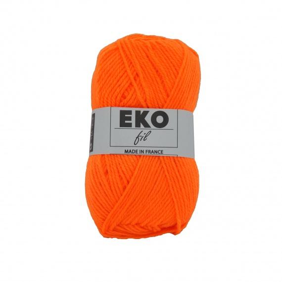 pelote de laine orange fluo
