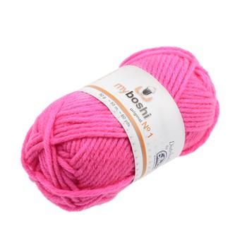 pelote de laine rose fluo