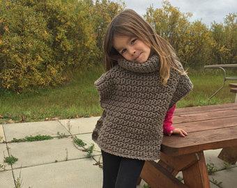 poncho crochet grosse laine