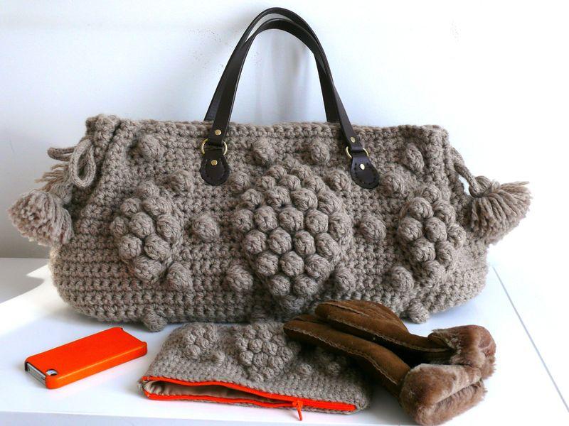 sac crochet laine