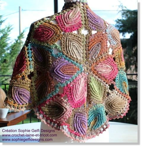 crochet laine multicolore