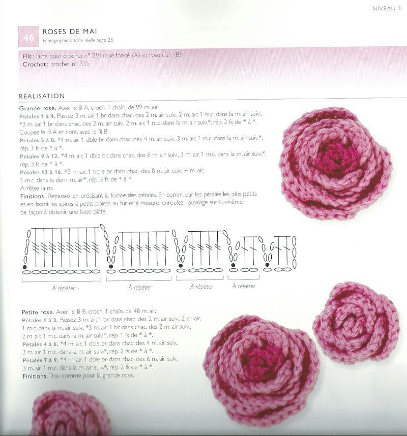 rose au crochet en laine